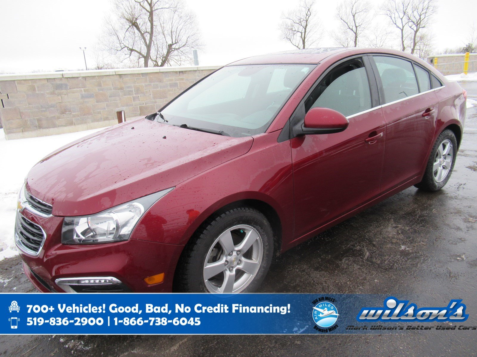 Certified Pre-Owned 2015 Chevrolet Cruze 2LT, Leather, Sunroof, Heated Seats, Remote Start, Power Seat, Rear Camera and more!
