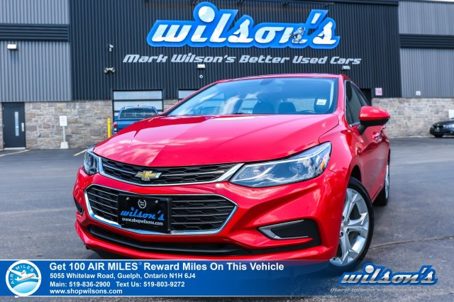 Certified Pre-Owned 2017 Chevrolet Cruze Premier with Leather, Bluetooth, Rear Camera, Heated Steering and Seats, Remote Start, and Alloys