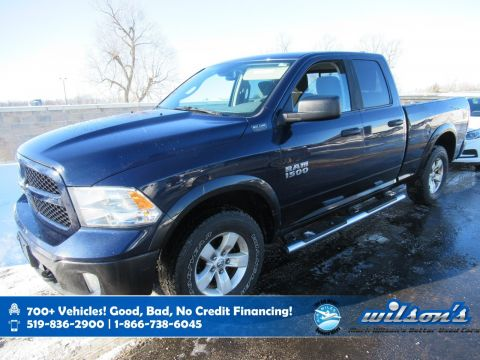 Certified Pre-Owned 2015 Ram 1500 Outdoorsman Quad Cab 4x4, Remote Start, Power Seat, Tow Package, Bluetooth and more!
