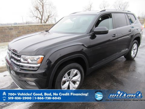 Certified Pre-Owned 2018 Volkswagen Atlas Comfortline AWD, Leather, Remote Start, Blindspot Detection, Heated Steering and more!