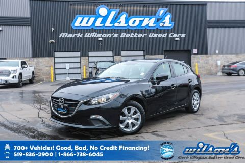 Certified Pre-Owned 2015 Mazda3 GX Hatchback, 6 Speed, New Tires, Bluetooth, Push Button Start, Air Conditioning and more!