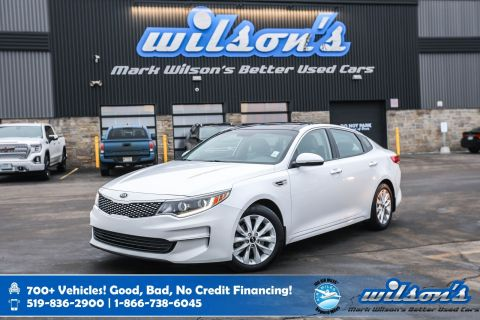 Certified Pre-Owned 2016 Kia Optima EX, Leather, Sunroof, Heated Seats + Steering, Rear Camera, Blindspot Alert and more!