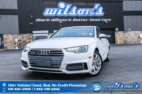 "Certified Pre-Owned 2018 Audi A4 Komfort AWD, Leather, Sunroof, New Tires, Heated Seats, Proximity Key, 18"" Alloys & more!"