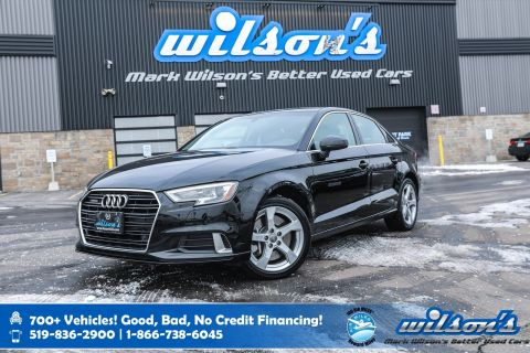 Certified Pre-Owned 2019 Audi A3 Sedan Komfort AWD, Leather, Panoramic Sunroof, Power + Heated Seats, Bluetooth, Rear Camera and more!